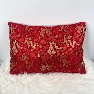 Asian Red & Gold 100% Silk Decorative Throw Pillow